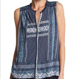 Lucky Brand Embroidered Border Print Tank Blouse S